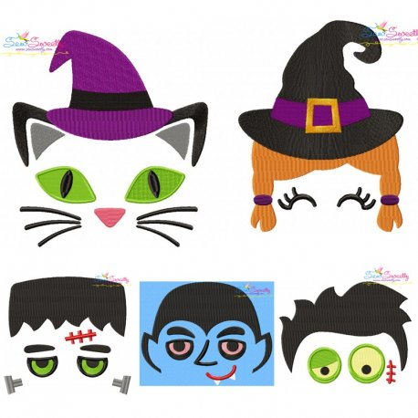Halloween Faces- Filled Embroidery Design Bundle Pattern- Category- Embroidery Design Bundles- 1
