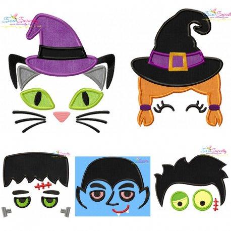 Halloween Faces- Applique Design Bundle Pattern- Category- Embroidery Design Bundles- 1