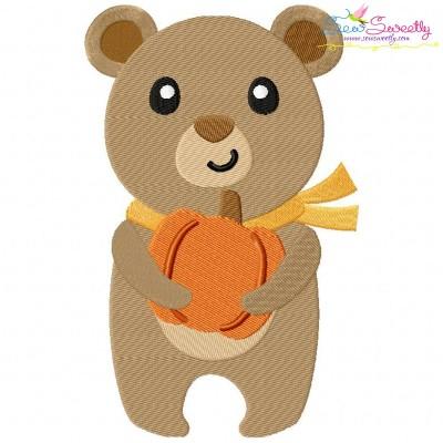 Fall Bear Boy Embroidery Design