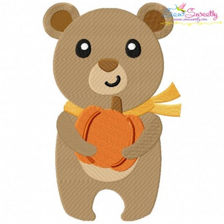 Fall Bear Boy Embroidery Design Pattern- Category- Fall And Thanksgiving- 1