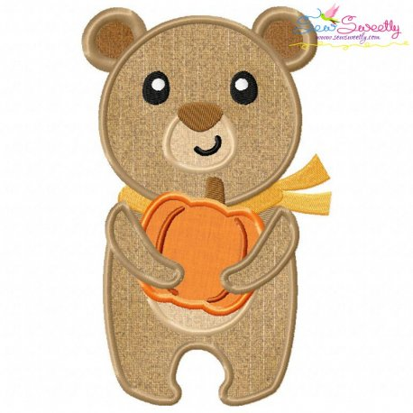 Fall Bear Boy Applique Design Pattern- Category- Fall And Thanksgiving- 1