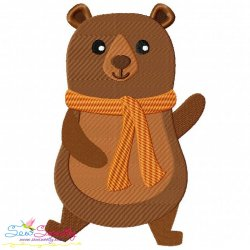 Fall Bear Boy-2 Embroidery Design