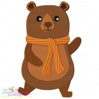 Fall Bear Boy-2 Embroidery Design