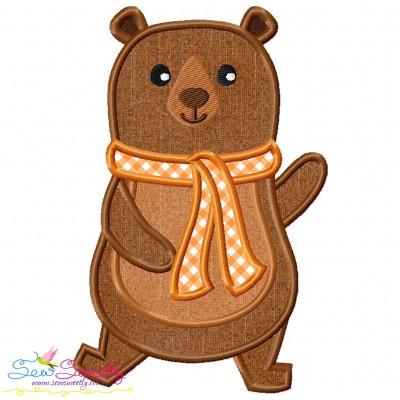 Fall Bear Boy-2 Applique Design