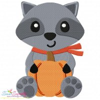 Fall Raccoon Boy Embroidery Design
