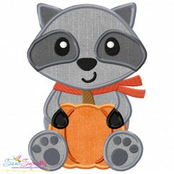 Free Fall Raccoon Boy Applique Design