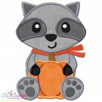 Fall Raccoon Boy Applique Design