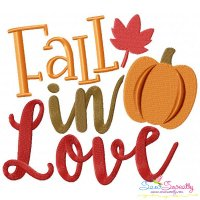 Fall In Love Lettering Embroidery Design