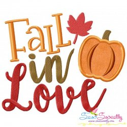 Fall In Love Lettering Applique Design