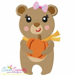 Fall Bear Girl Embroidery Design
