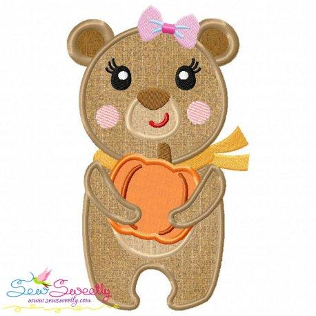 Fall Bear Girl Applique Design