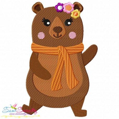 Fall Bear Girl-2 Embroidery Design