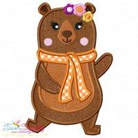 Fall Bear Girl-2 Applique Design