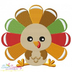 Sitting Turkey- Boy Embroidery Design