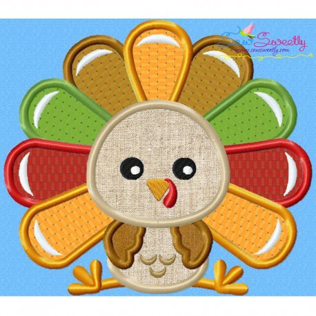 Sitting Turkey- Boy Applique Design