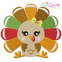 Sitting Turkey- Girl Embroidery Design