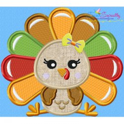 Sitting Turkey- Girl Applique Design