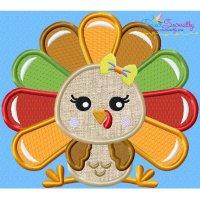 Sitting Turkey- Girl Applique Design