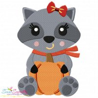 Fall Raccoon- Girl Embroidery Design