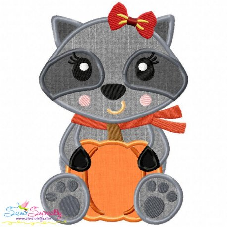 Fall Raccoon- Girl Applique Design