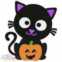 Black Cat Pumpkin- Boy Embroidery Design