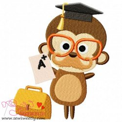 Teacher Monkey Embroidery Design