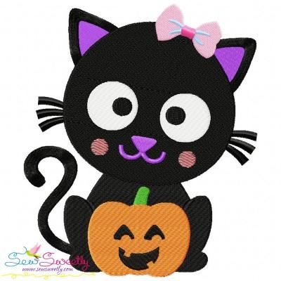 Black Cat Pumpkin- Girl Embroidery Design