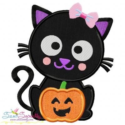 Free Black Cat Pumpkin Girl Applique Design- Category- Halloween Designs- 1