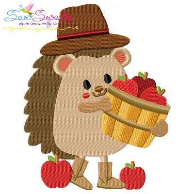 Hedgehog- Boy Apples Embroidery Design
