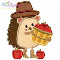 Hedgehog- Boy Apples Applique Design