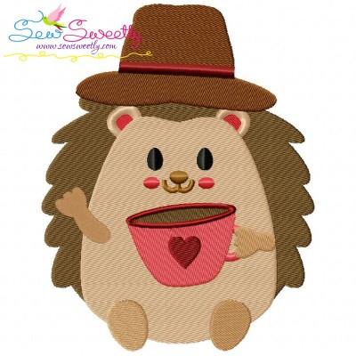 Hedgehog- Boy Coffee Embroidery Design
