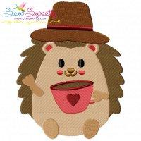 Hedgehog Boy With Coffee Embroidery Design