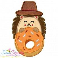 Hedgehog Boy With Donut Applique Design
