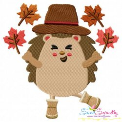 Hedgehog- Boy Fall Leaves Embroidery Design