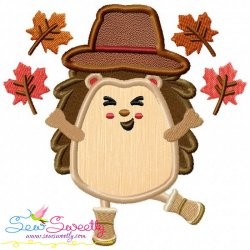 Hedgehog- Boy Fall Leaves Applique Design