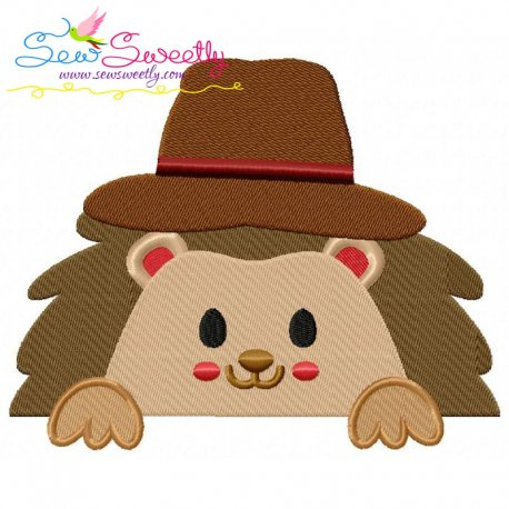 Hedgehog- Boy Peeking Embroidery Design