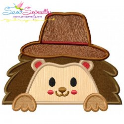 Hedgehog- Boy Peeking Applique Design