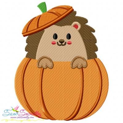 Hedgehog- Boy Peeking Pumpkin Embroidery Design