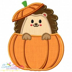 Hedgehog- Boy Peeking Pumpkin Applique Design