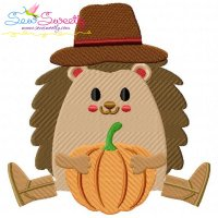 Hedgehog- Boy Pumpkin Embroidery Design