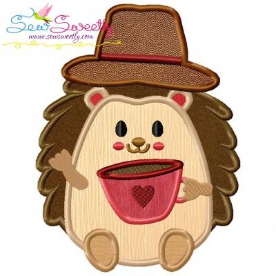 Hedgehog- Boy Coffee Applique Design