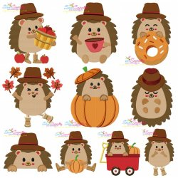 Fall Hedgehogs Boy Fill Embroidery Design Bundle