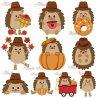 Fall Hedgehogs Boy Fill Embroidery Design Bundle