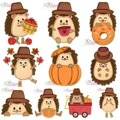 Fall Hedgehogs Boy Applique Design Bundle