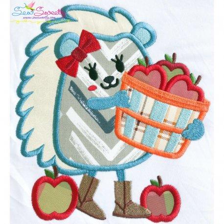 Hedgehog Apples Applique Design
