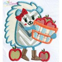 Hedgehog Girl Apples Applique Design