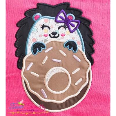 Hedgehog Girl Doughnut Applique Design