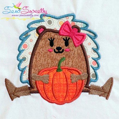 Hedgehog Girl Pumpkin Applique Design- Category- Fall And Thanksgiving- 1