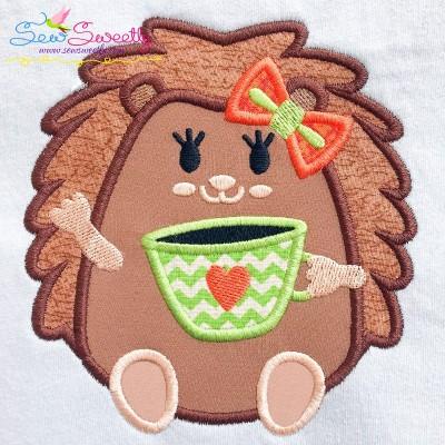 Hedgehog Girl Coffee Applique Design
