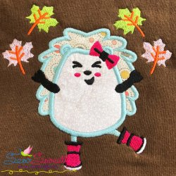 Hedgehog Girl Leaves Applique Design